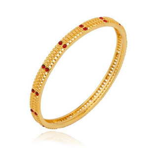 24K Gold color bracelet with red rhinestones
