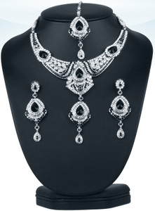 Rare fashion Indian bridal polki costume jewelry set hand crafted in a silver background with white and black stones -0603SMBR202