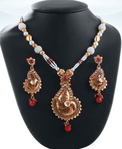 Gold plated beaded necklace with pendant with emerald,ruby and clear polki stones-04PLKA15