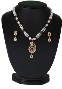 Contemporary fashion beaded necklace with light purple and imitation pearl studded pendant-CJBEAD45