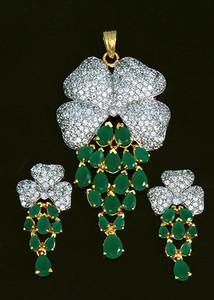 Enchanting Emerald CZ simulated American Diamond pendant earring fashion jewelry set-CJADPT109