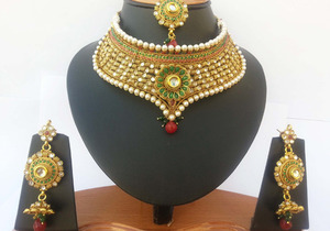 Handmade fashion semibridal necklace set with imitation Pearls & Emerald,Ruby,clear stones-JEWELRYCR09