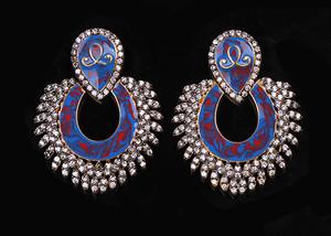 Blue cabochon pierced earrings
