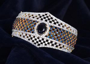 American Diamond Sapphire Blue, White CZ Ethnic style Cuff Bangle