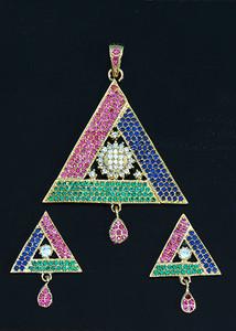 Sapphire Blue,Fuchsia and Emerald stone fashion jewelry
