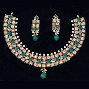 Kundan Choker necklace with faux Emerald and clear stones.
