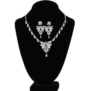 Necklace Set Encrusted With Multi color CZ & AD Stones