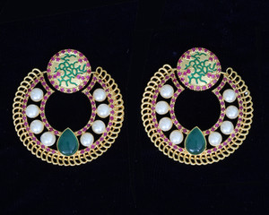 Ethnic Indian style Green Color Stone, Shell Pearl & Gold Plated Chand Bali Earring.