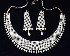 Indian Bridal/Party Wear American Diamond High Quality Necklace Set