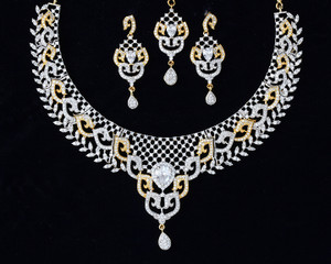 Indian CZ AD Necklace Gold & Silver Two Tone Bollywood Bridal Jewelry