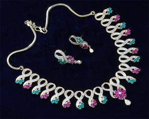 Fashion Jewelry CZ AD Simulated Designer Look Gold Plated Red Ruby Necklace Set