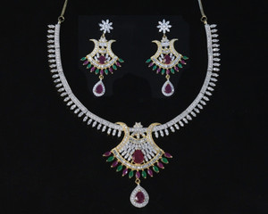 Designer AD CZ necklace with Clear, ruby and emerald stones