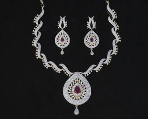 American Diamond Pendant Necklace with Ruby stone