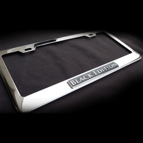 Black Edition Stainless Steel License Plate Frame with Screws and Screw Caps