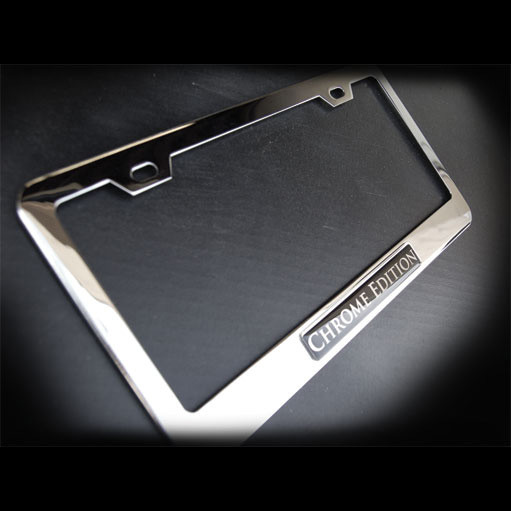 Chrome Edition Stainless Steel License Plate Frame with Screws and Screw Caps