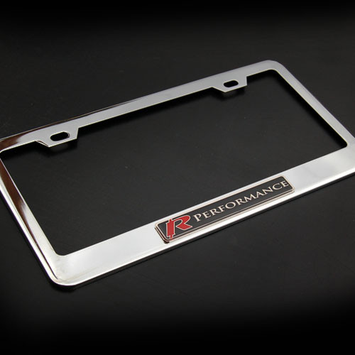 Red R performance Stainless Steel License Plate Frame with Screws and Screw Caps
