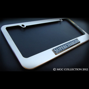 Supercharged Stainless Steel License Plate Frame with Screws and Screw Caps