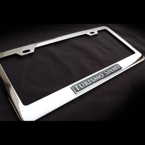 Turismo Sport Stainless Steel License Plate Frame with Screws and Screw Caps