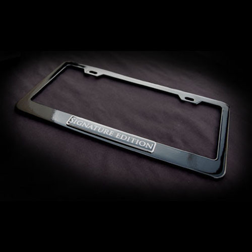 Signature Edition Black Stainless Steel License Plate Frame with Screws and Screw Caps