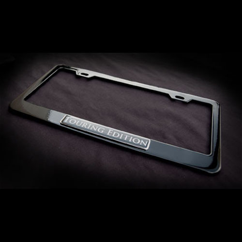 Touring Edition Black Stainless Steel License Plate Frame with Screws and Screw Caps