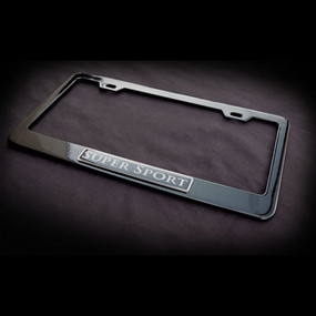 Super Sport Black Stainless Steel License Plate Frame with Screws and Screw Caps