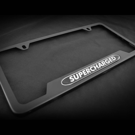 Supercharged OE style Black Stainless Steel License Plate Frame with Screws and Screw Caps