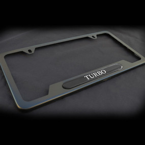 Turbo OE style Black Stainless Steel License Plate Frame with Screws and Screw Caps