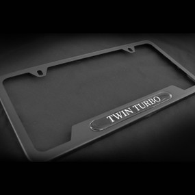 Twin Turbo OE style Black Stainless Steel License Plate Frame with Screws and Screw Caps