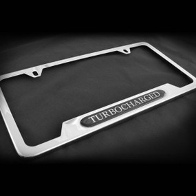 Turbocharged OE Style Stainless Steel License Plate Frame with Screws and Screw Caps