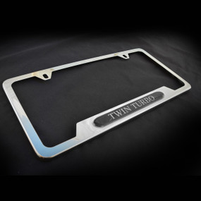 Twin Turbo OE Style Stainless Steel License Plate Frame with Screws and Screw Caps