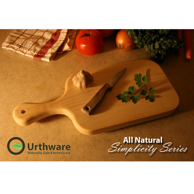 urthware all natural hard and safe maple cutting board with handle-small