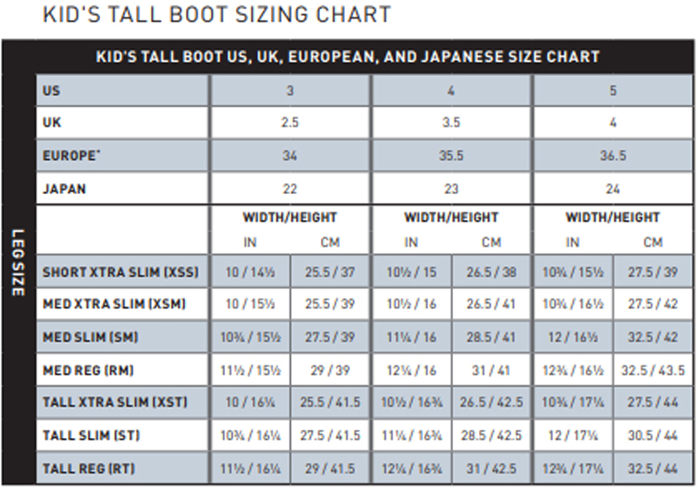 Ariat Kid's Tall Riding Boot Size Chart