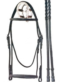 Bobby's Silver Spur Fancy Stitched Snaffle Bridle with Reins