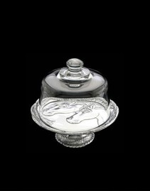 Arthur Court Equestrian Footed Plate With Glass Dome- 8""