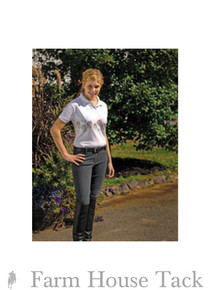 Tuffrider Ladies Ribbed Pull On Knee Patch Breeches
