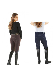 Ovation Ladies Euro Jean Front Zip Knee Patch Breeches