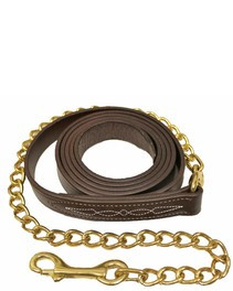 "Walsh Fancy Stitch Leather Lead with 24"" Chain"