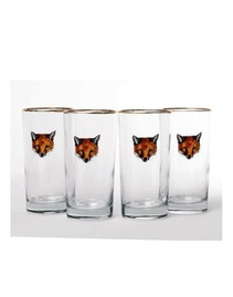 Equestrian Glassware - Richard C Bishop Fox Mask Highball Glass Set
