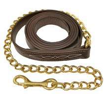 "Walsh Fancy Stitch Leather Lead with 30"" Chain"