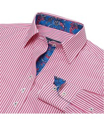 Essex Dora Casual Shirt - Hot Pink Stripes with Blue Paisley