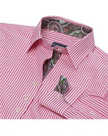 Essex Dora Casual Shirt - Hot Pink Stripes with Green Paisley