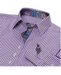 Essex Dora Casual Shirt- Plum Stripes with paisley collar