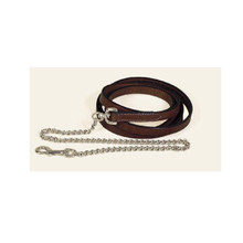 "Tory Leather Lead with 24"" Brass Plated Chain"