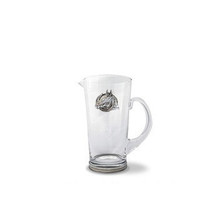 Arthur Court Equestrian Horse Head and Horseshoe Glass Pitcher