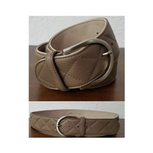 Tailored Sportsman 2 Tone Quilted C Belt - Stone/ Mocha