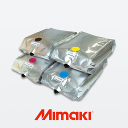 Genuine Mimaki TP400 Textile Inks for printing on almost all fabrics with brilliant color and high quality printing. Compatible with TS300P and TX300P printer models. 2 liter bag format, Mimaki part number I-TP400-X-2L.