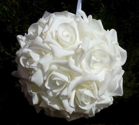 EVERLASTING ROSE BALL - WHITE - 8""