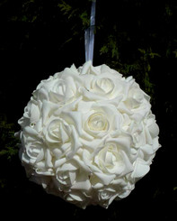 EVERLASTING ROSE BALL - WHITE - 6""
