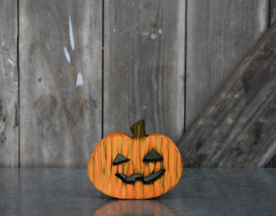 PUMPKIN WOODEN - YL/OR - 4.75 x 4""