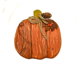 PUMPKIN WOODEN RUSTIC - ORANGE - 7.5 x  7.8""